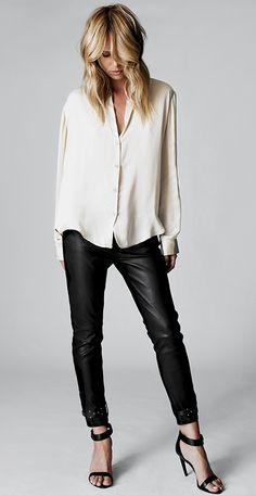 cuir et chemise blanche